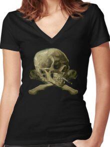 Masterpiece Skull Van Gogh Women's Fitted V-Neck T-Shirt