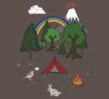 Cartoon Camping Scene Baby Tee