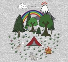 Cartoon Camping Scene One Piece - Long Sleeve