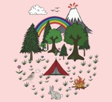 Cartoon Camping Scene Kids Tee