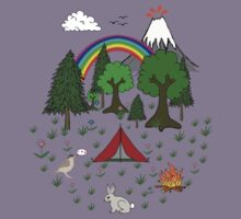 Cartoon Camping Scene Kids Tee