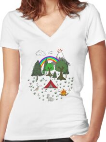 Cartoon Camping Scene Women's Fitted V-Neck T-Shirt