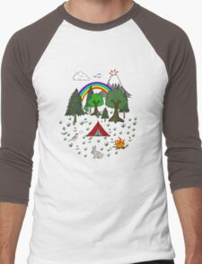 Cartoon Camping Scene Men's Baseball ¾ T-Shirt