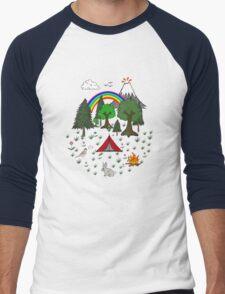 Cartoon Camping Scene Men's Baseball ¾ T-Shirt