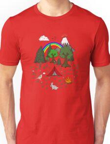 Cartoon Camping Scene Unisex T-Shirt