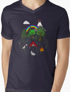 Cartoon Camping Scene Mens V-Neck T-Shirt