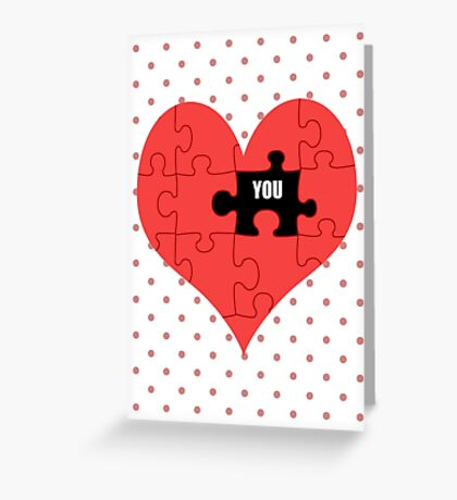 Heart Puzzle (white) Greeting Card