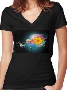 Flower Vector Women's Fitted V-Neck T-Shirt