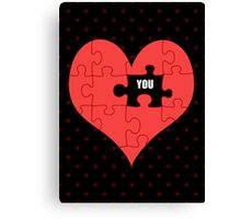 Heart Puzzle (black) Canvas Print