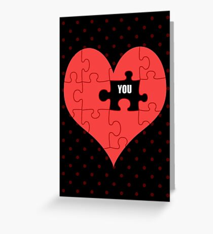 Heart Puzzle (black) Greeting Card