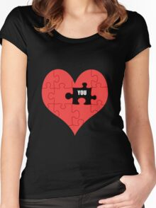 Heart Puzzle (black) Women's Fitted Scoop T-Shirt