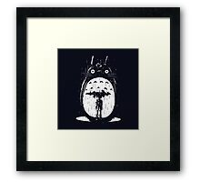 cute raining umbrela totoro Framed Print