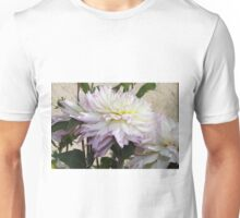 Creamy Dahlias With Lavender Fringed Petals Unisex T-Shirt