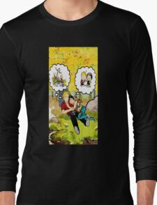 calvin dreaming with girl friends Long Sleeve T-Shirt