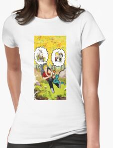 calvin dreaming with girl friends Womens Fitted T-Shirt