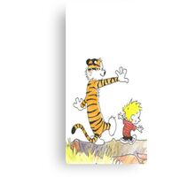 calvin hobbes back forest Canvas Print
