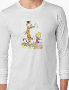 calvin hobbes back forest Long Sleeve T-Shirt