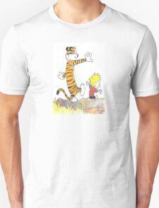 calvin hobbes back forest Unisex T-Shirt