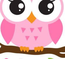 Cute pink cartoon baby owl sitting on a branch with leaves and flowers Sticker