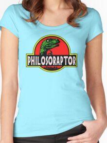 Philosoraptor Meme Funny Velociraptor Dinosaur T Shirt Women's Fitted Scoop T-Shirt