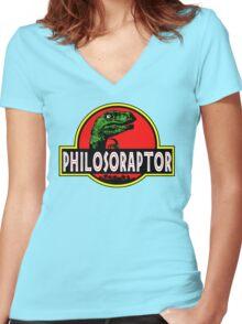 Philosoraptor Meme Funny Velociraptor Dinosaur T Shirt Women's Fitted V-Neck T-Shirt