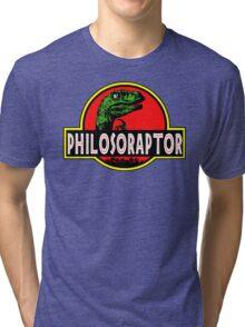 Philosoraptor Meme Funny Velociraptor Dinosaur T Shirt Tri-blend T-Shirt