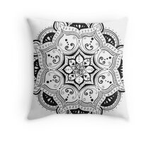 Mandala B&W Throw Pillow