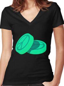 Ecstasy Pills - Peace Symbol Women's Fitted V-Neck T-Shirt