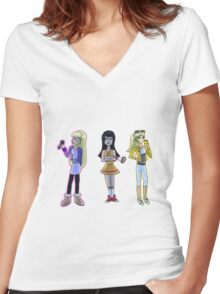 Rich and Popular Cartoon Girls Women's Fitted V-Neck T-Shirt