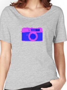 YASHICA Illustration Pink & Blue Women's Relaxed Fit T-Shirt