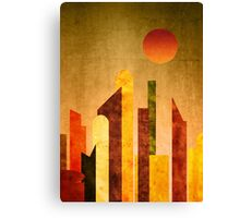 Autumn City Sunset Geometric Flat Urban Landscape Canvas Print