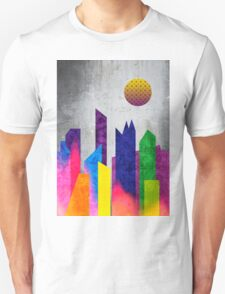Summer Night City Colorful Trendy Flat Geometric Landscape Unisex T-Shirt