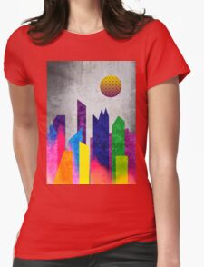 Summer Night City Colorful Trendy Flat Geometric Landscape Womens Fitted T-Shirt