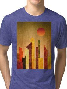 Autumn City Sunset Geometric Flat Urban Landscape Tri-blend T-Shirt