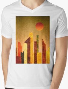 Autumn City Sunset Geometric Flat Urban Landscape Mens V-Neck T-Shirt