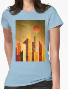 Autumn City Sunset Geometric Flat Urban Landscape Womens Fitted T-Shirt