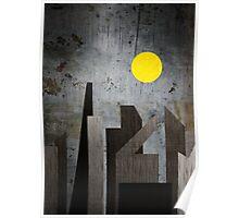 Grunge Winter Rusty City Geometric Flat Urban Landscape Poster