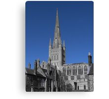 Norwich Cathedral; Chimney Pots ( Blue ) Canvas Print