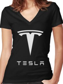 tesla retro vintage classic Women's Fitted V-Neck T-Shirt