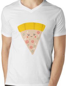 Cute funny smiling PIZZA slice Mens V-Neck T-Shirt
