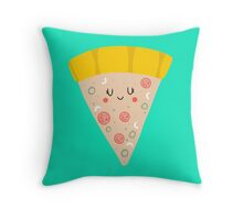 Cute funny smiling pizza slice Throw Pillow