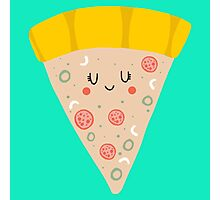 Cute funny smiling pizza slice Photographic Print