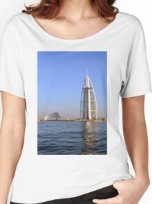 Photography of Burj al Arab hotel from Dubai seen from the sea, United Arab Emirates. Women's Relaxed Fit T-Shirt