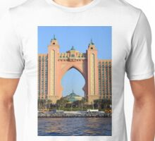 Photography of arched pink hotel from Dubai, United Arab Emirates. Unisex T-Shirt