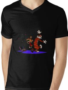 Calvin and Hobbes Dancing in the Floor Mens V-Neck T-Shirt