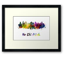 Ho Chi Minh skyline in watercolor Framed Print