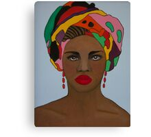 African woman in colorful headdress Canvas Print