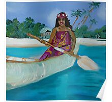 Island Life Woman in a canoe Poster