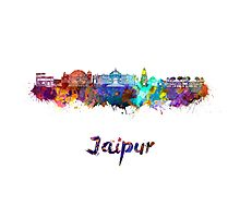 Jaipur skyline in watercolor Photographic Print