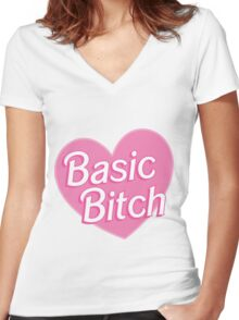 Basic Bitch Pink Women's Fitted V-Neck T-Shirt